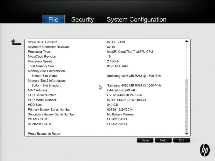 003 HP BIOS