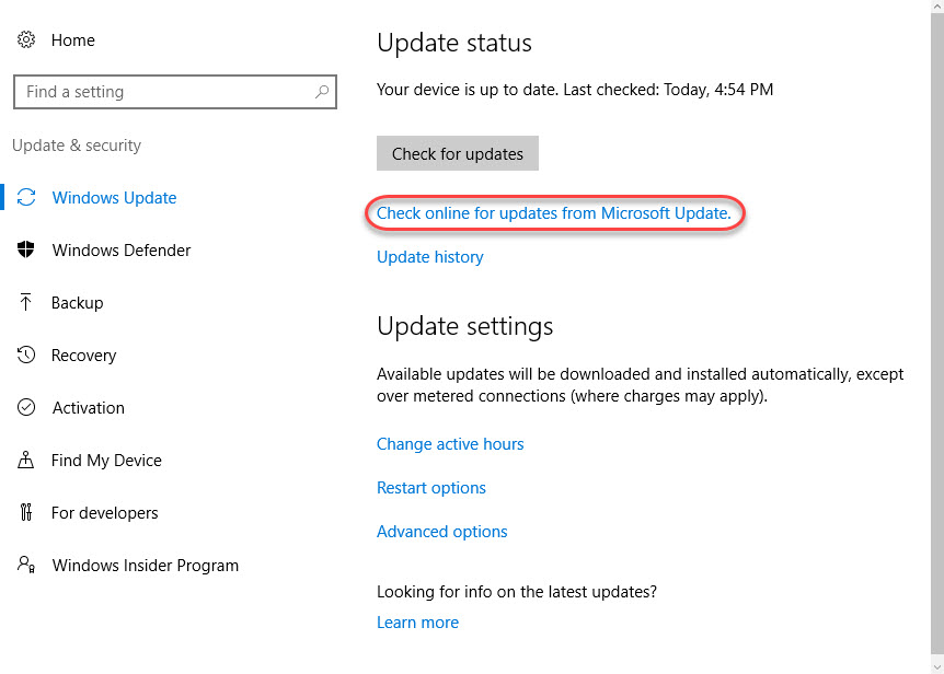 "Disable ""Check online for updates from Microsoft Update"" in"