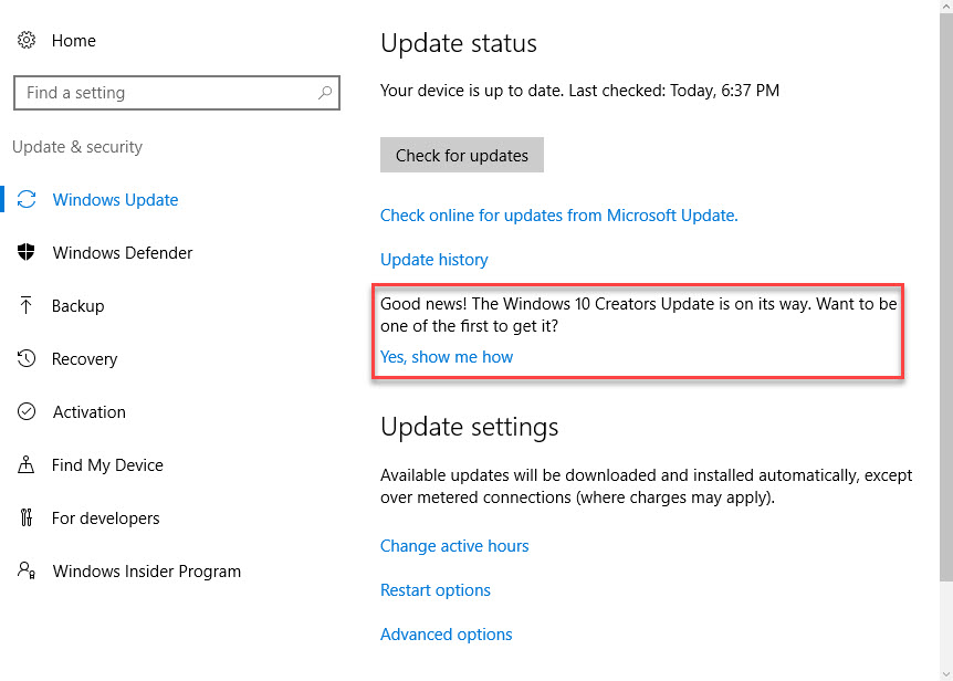 how to stop windows creator update from installing