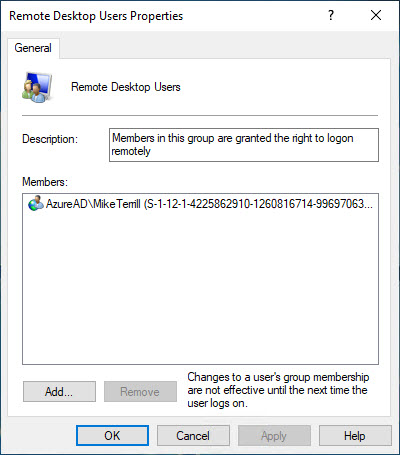 How to add AAD users to the Remote Desktop Users Group